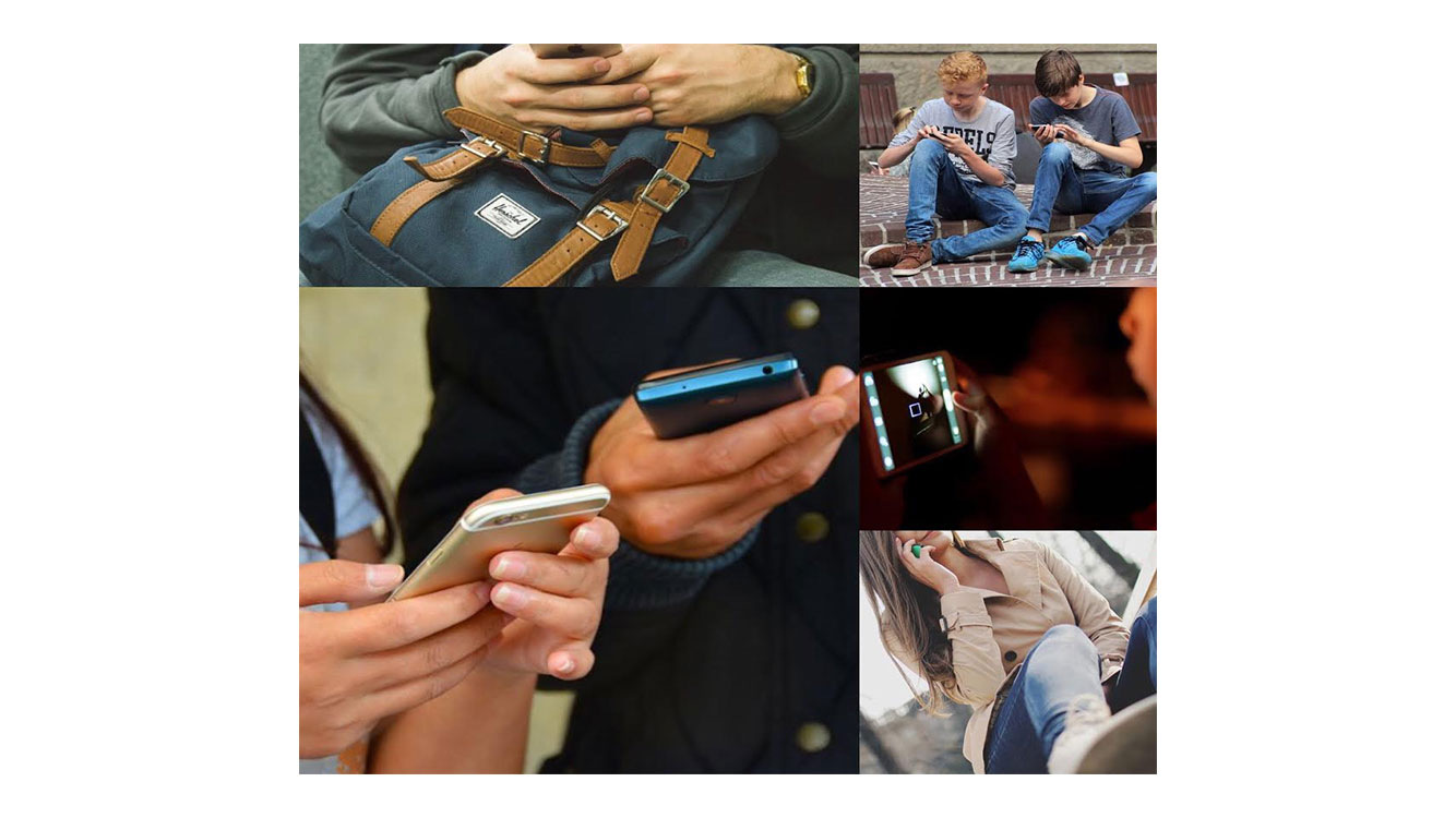 collage of people using smartphones